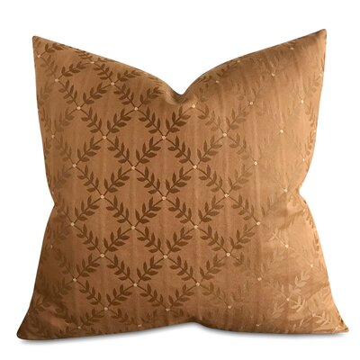 Cespedes French Embroidered Leaf Luxury Woven Decorative Pillow Cover Size: 22