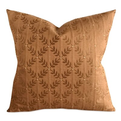 Cespedes French Embroidered Leaf Luxury Woven Decorative Pillow Cover Size: 20 x 20