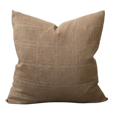 Croll Geometric Luxury Embroidered Decorative Suede Pillow Cover