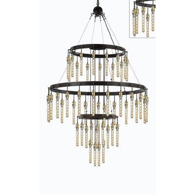 Eady Vintage Barn Metal 3 Tier 60-Light Crystal Chandelier