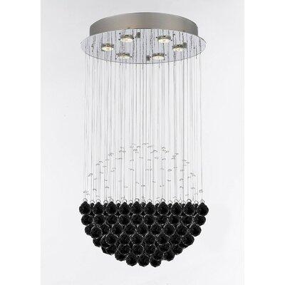 Wells Modern Raindrop 6-Light Crystal Chandelier Crystal Color: Black