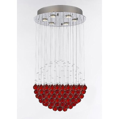 Wells Modern Raindrop 6-Light Crystal Chandelier Crystal Color: Red