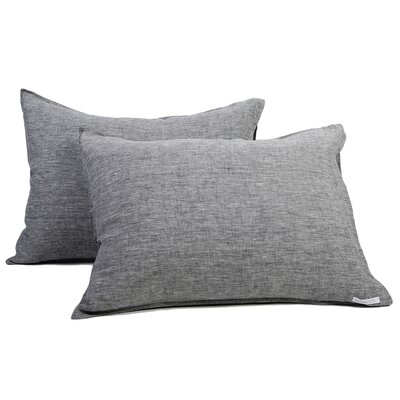 Linen Sham Size: Queen, Color: Heather Charcoal