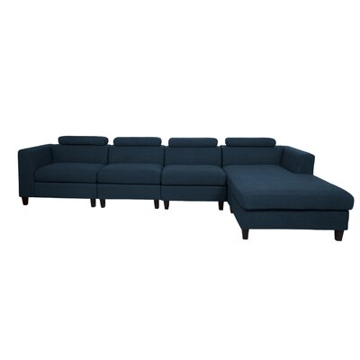 Lundberg Modern Extended Deep Seated Chaise Modular Sectional Finish: Navy Blue