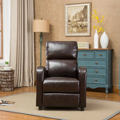 Hallett Manual Recliner Upholstery: Dark Brown