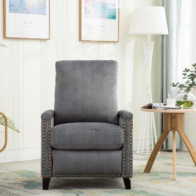 Hallam Push Back Manual Recliner Upholstery: Blue Gray