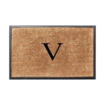 Fooks Molded Double Monogrammed Doormat Letter: V