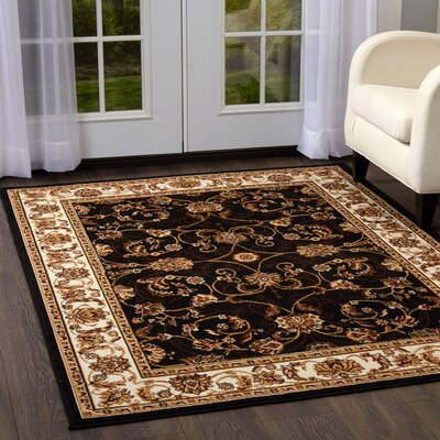 Lilly Traditional Border Ebony/Ivory Area Rug Rug Size: Rectangle 37 x 52