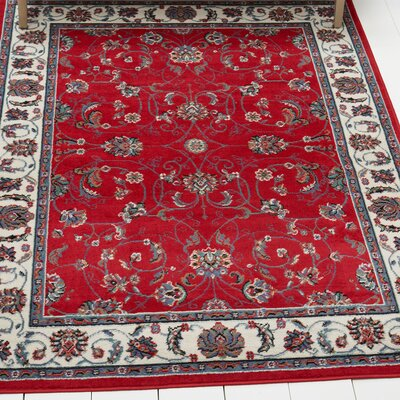 Lilly Traditional Border Red/Ivory Area Rug Rug Size: Rectangle 52 x 74