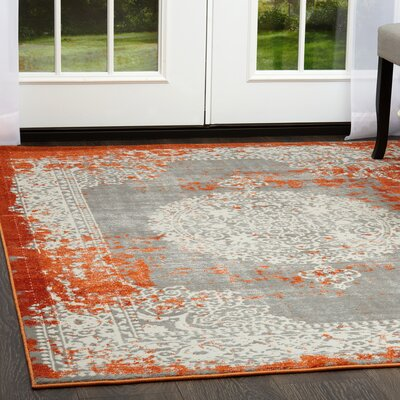 Gidley Gray/Terracotta Area Rug Rug Size: Rectangle 27 x 43