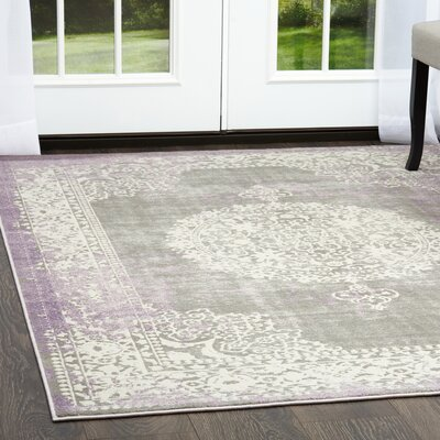 Gidley Arabesque Gray/Violet Area Rug Rug Size: Rectangle 2'7
