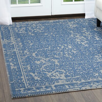 Rapier Gray/Blue Area Rug Rug Size: Rectangle 27 x 42