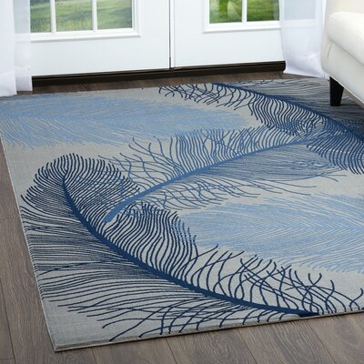 Rowe Gray/Blue Area Rug Rug Size: Rectangle 52 x 72
