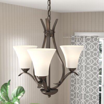 Bourne 3-Light Shaded Chandelier with Bell Shade Finish: Olde Bronze