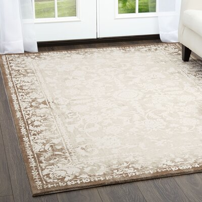 Kamen Mandala Beige Area Rug Rug Size: Rectangle 52 x 72