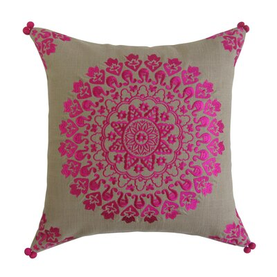 Wilkerson Embroidered Square Decorative Cotton Throw Pillow