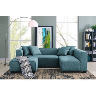 Jamarcus Modular Sectional with Ottoman Upholstery: Caribbean Blue