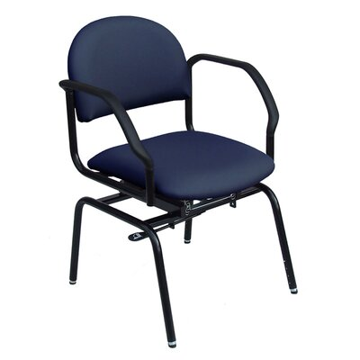 Lisinski Smart Seating Height Adjustable Swivel Slide Upholstered Dining Chair Upholstery Color: Navy