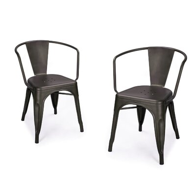 Halley Metal Dining Chair Color: Black