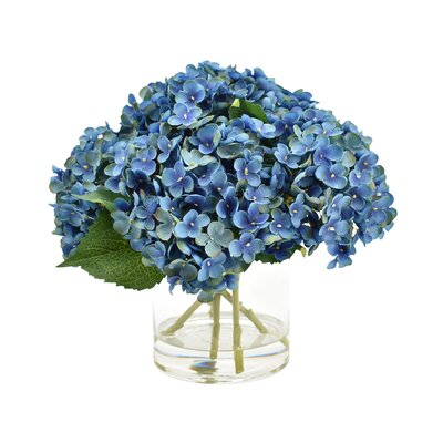 Hydrangea Floral Arrangement in Glass Vase