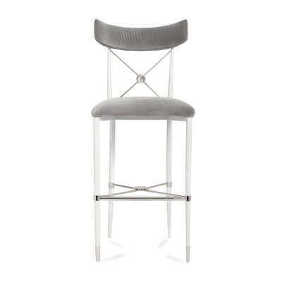 Rider Counter 26 Bar Stool Color: White, Upholstery: Gray