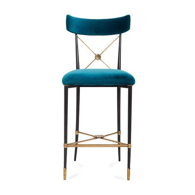 Rider Counter 26 Bar Stool Color: Black, Upholstery: Blue