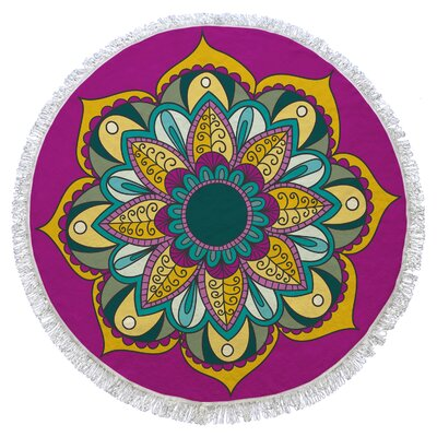 Rhiannon Round Beach Towel Color: Fuschia/Yellow