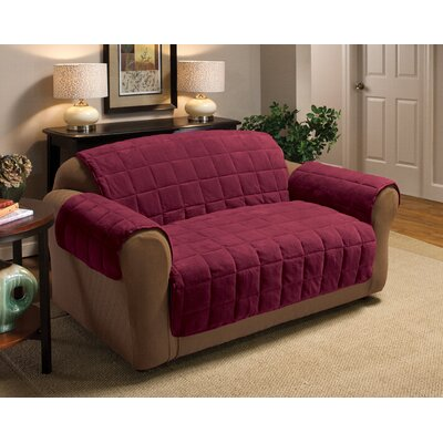 Burnham Box Cushion Loveseat Slipcover Upholstery: Burgundy