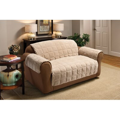 Burnham Protector T-Cushion Sofa Slipcover Upholstery: Cream