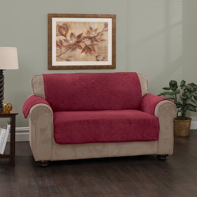 Plush Stripe Box Cushion Loveseat Slipcover Upholstery: Burgundy