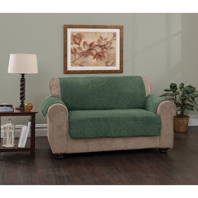 Plush Stripe Box Cushion Loveseat Slipcover Upholstery: Hunter Green