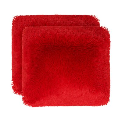 Englishcombe Shag Decorative Throw Pillow Color: Crimson