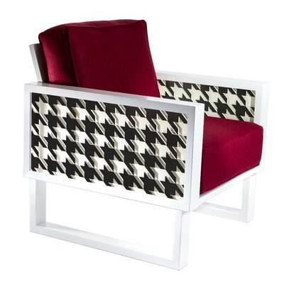 Winder Houndstooth Armchair Upholstery: Wine Red, Finish: White