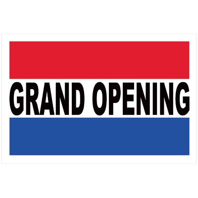 Grand Opening Banner Size: 24 H x 36 W x 0.18 D