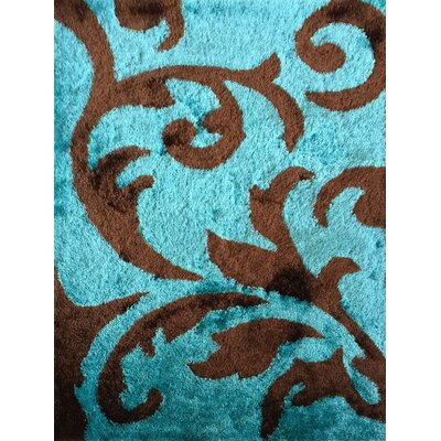 Freshford Beautiful Floral Hand-Tufted Turquoise/Brown Area Rug
