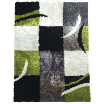 Mcglothin Geometric Shag Hand-Tufted Black/Green Area Rug