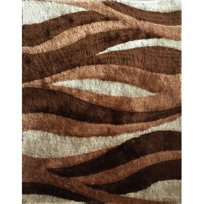 Wilhoit Abstract Shag Hand-Tufted Brown Area Rug