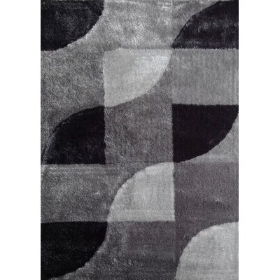 Wilker Geometric Shag Hand-Tufted Gray/Black Area Rug