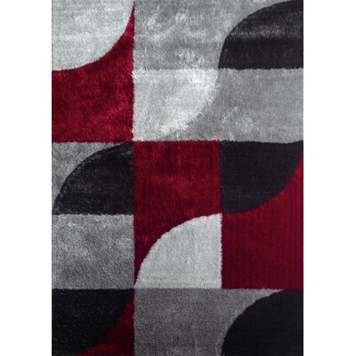 Wilkes Geometric Shag Hand-Tufted Gray/Red Area Rug