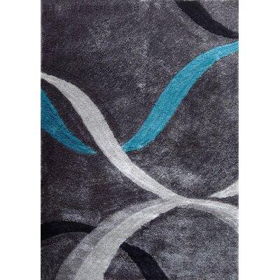 Wilkin Geometric Shag Hand-Tufted Gray Area Rug