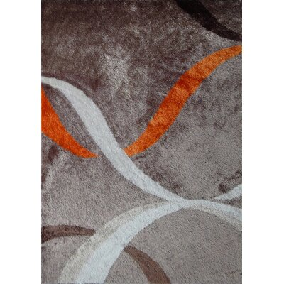 Wilkins Geometric Shag Hand-Tufted Mocha/Rust Area Rug