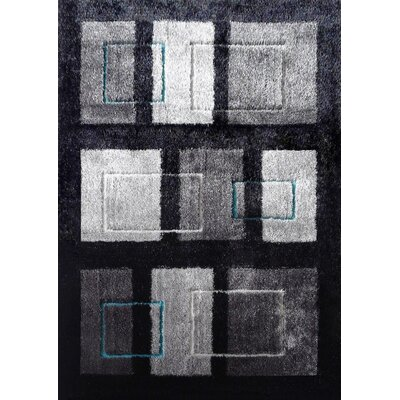 Wilkinson Geometric Shag Hand-Tufted Black/Gray Area Rug