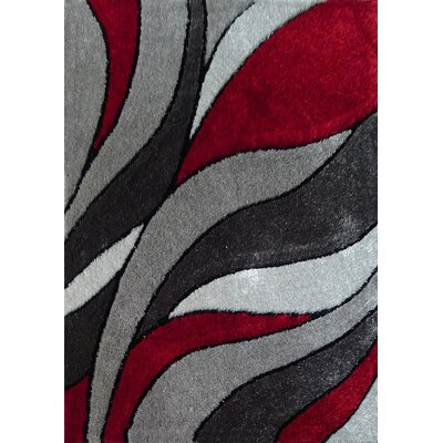 Wilks Geometric Shag Hand-Tufted Gray/Red Area Rug