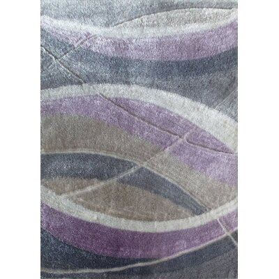 Mcelrath Beautiful Abstract Hand-Tufted Slate/Purple Area Rug