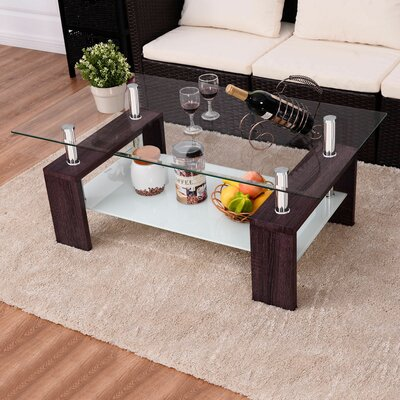 Wiechmann Rectangular Tempered Glass Coffee Table Color: Brown