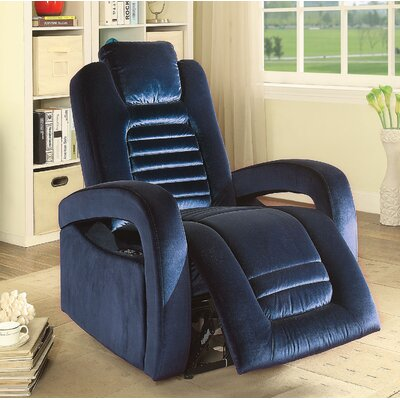 Marcum Motion Power Glider Recliner Upholstery: Blue