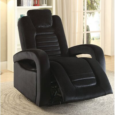 Marcum Motion Power Glider Recliner Upholstery: Black