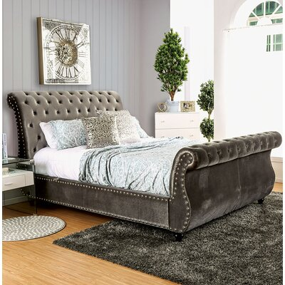 Flannery Upholstered Sleigh Bed Color: Gray, Size: California King