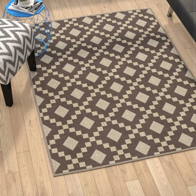 Heim Nature Cotton Diamond Trellis Brown/Beige Area Rug Rug Size: 4 8 x 6 7