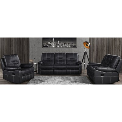 Mallon Reclining 3 Piece Leather Living Room Set Upholstery: Black
